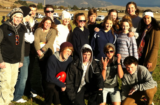 Student enjoy some local football on Rest Day