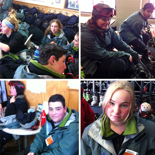 Students get fitted out for their first Downhill Ski Day