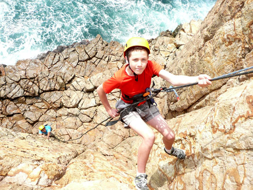 Abseiling off a Cliff above the Ocean - in Pak Lap Wan, Hong Kong